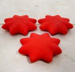 RED MATTE 42MM STAR 10MM THICK BEADS - Lot of 12