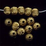 BRASS CORRUGATED 6X5MM SQUASHED ROUND BEADS - Lot of 12