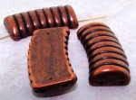 ANTIQUE COPPER 35X21MM GROOVED TOP 2-HOLE PENDANT - Lot of 12