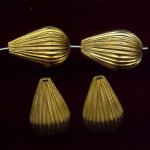 BRASS CORRUGATED 20X14MM TEAR DROP BEADS - Lot of 12