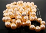 CHAMPAGNE 15MM ROUND SMOOTH JAPANESE PEARLS - Lot of 51