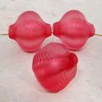 PINK MATTE 27X24MM FANCY ETCHED EXTENDED HOLE BEADS- Lot of 12