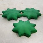 GREEN MATTE 42MM STAR 10MM THICK BEADS - Lot of 12
